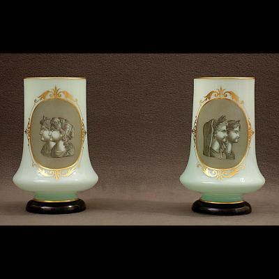Paire De Rares Vases En Opaline Début XIXème –