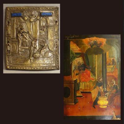 - Rare Grand Icône Russe Avec Son Riza Fin XVIIIème