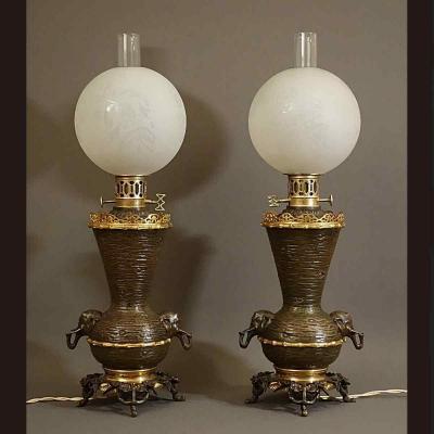 - Peu Courante Paire De Lampes à Régulateur XIXème