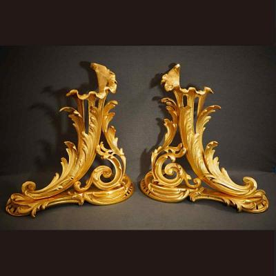 Grand Pair Of Andirons Louis XV Style XIXth Century