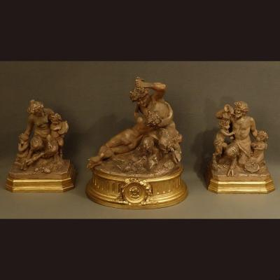 Large Group Triptych In Terracotta Clodion XIXth