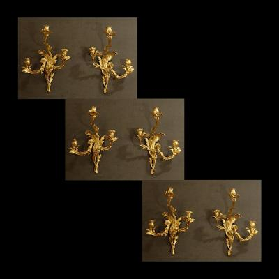 Important Set Of Wall Lights Louis XV Period
