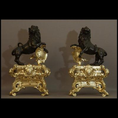 Pair Of Lions Andirons Regence Period