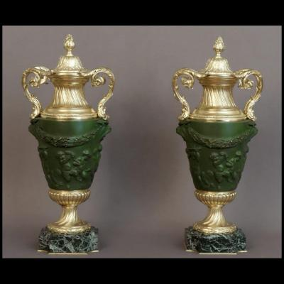 Pair Of Covered Vases From Clodion XIXth