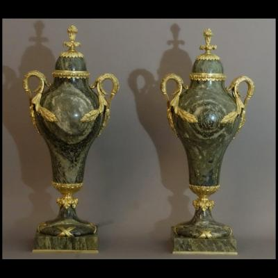 Pair Of Covered Vases XIXth