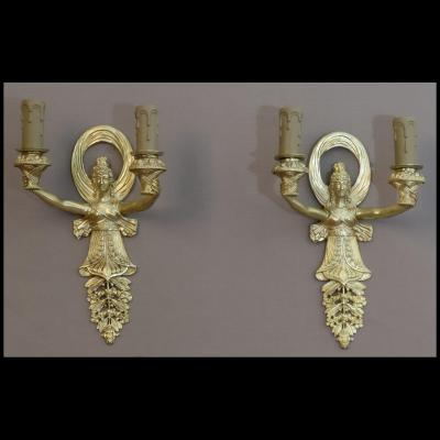 Pair Of Sconces Empire Beguinnig XXth
