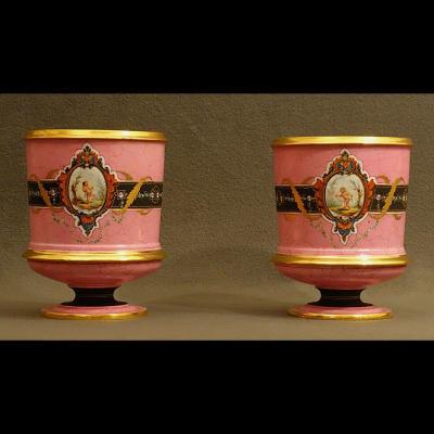 - Paire De Rafraichissoirs Porcelaine De Paris XIXè