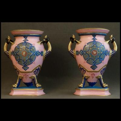 - Paire De Grands Vases A l'Etrusque En Sèvres XIXème