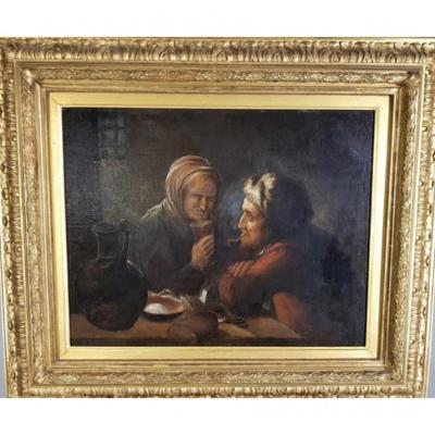 Scène De Taverne Hollandaise,huile sur toile XVIII