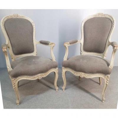 Paire De Fauteuils De Style Louis XV D'époque XIX ème