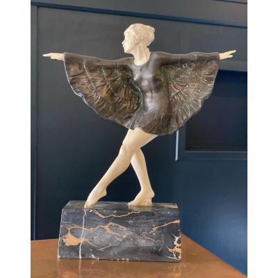Chryséléphantine de BOURAINE «Danseuse à la robe déployée «