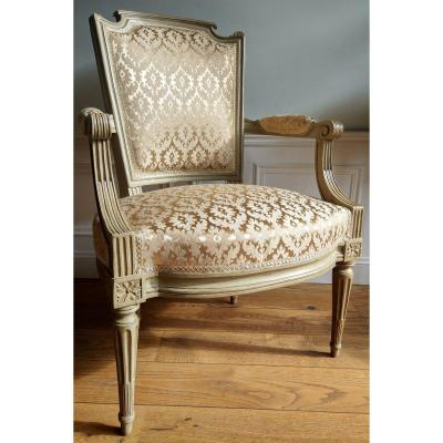 Pair Of Louis XVI Period Armchairs Stamped: N * S * Courtois