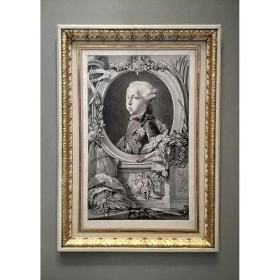 Gravure portrait d'un jeune garçon. XVIIIe siècle.