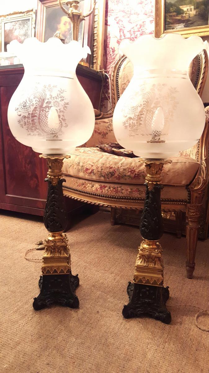 Paire Grandes Lampes Bronze Restauration