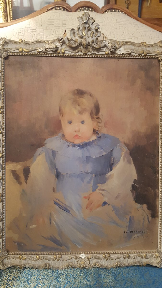 Ernest Jean Delahaye Portrait Of Child Late Nineteenth