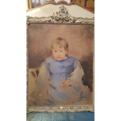 Ernest Jean Delahaye Portrait d'Enfant fin XIX ème