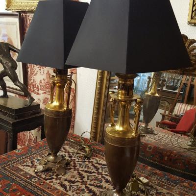 Paire De Lampes En Bronze Néoclassique Restauration .