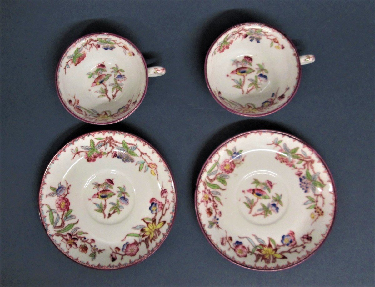 Sarreguemines, 2 Small Porcelain Children's Cups, Decor N ° 252-photo-2