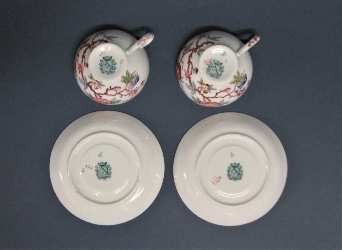 Sarreguemines, 2 Small Porcelain Children's Cups, Decor N ° 252-photo-3