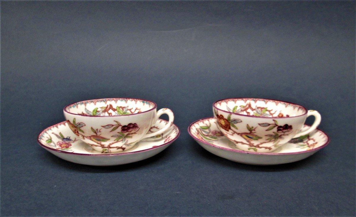 Sarreguemines, 2 Small Porcelain Children's Cups, Decor N ° 252