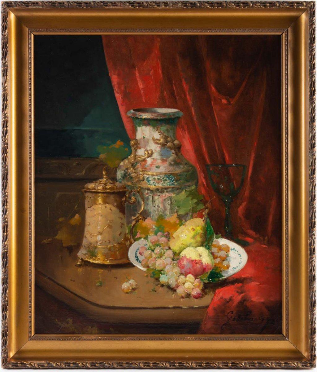 Emile Godchaux (1860 - 1938) : Assiette De Fruits Au Vase De Chine.