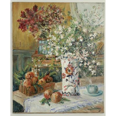 Bouquet de fleurs et fruits