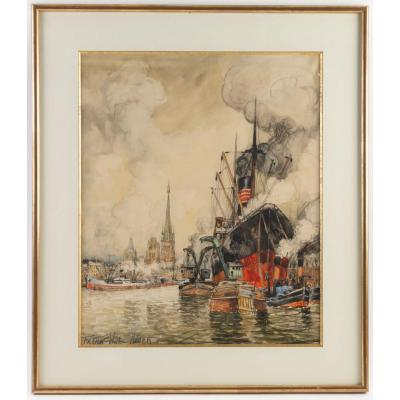 Frank Will (1900 - 1950): A View Of The Rouen Harbor.