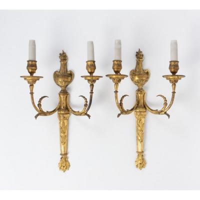 A Pair Of Louis XVI Period (1774 - 1793) Wall Lights.