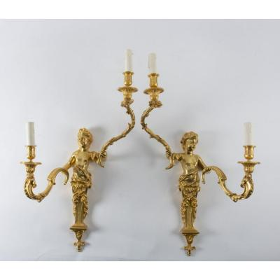 A Pair Of Regency Style Wall Lights.