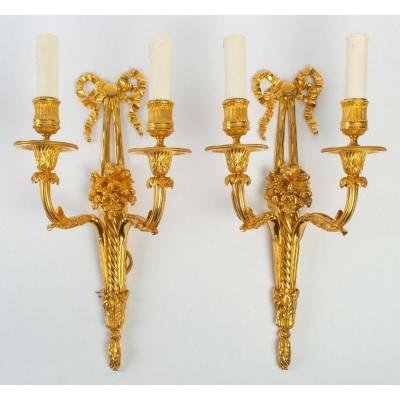 A Pair Of Louis XVI Style Wall Lights.