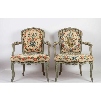 A Pair Louis XV Period (1724 - 1774) Of Armchairs Cabriolets.