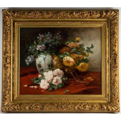 Henri Cauchois (1850 - 1911) : Nature Morte Aux Bouquets De Roses.