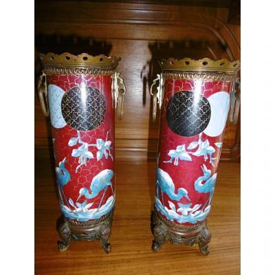 Paire De Vases montés bronze