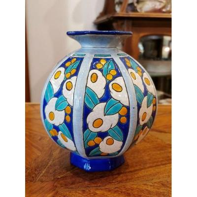 Longwy Vase Boule Art Deco