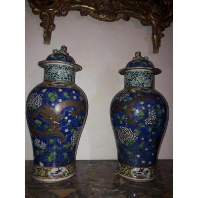 Paire Vases Couverts Asie