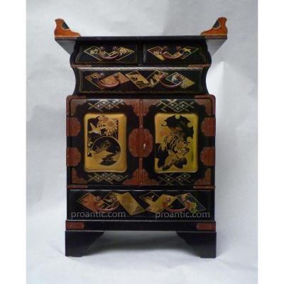 Cabinet En Bois Laqué Richement Décoré, Japon, Période Meiji, XIXème