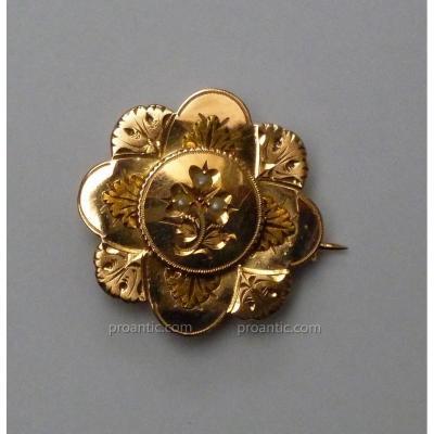 Broche De Corsage En Or Jaune 18 Carats, Napoléon III, Epoque XIXème