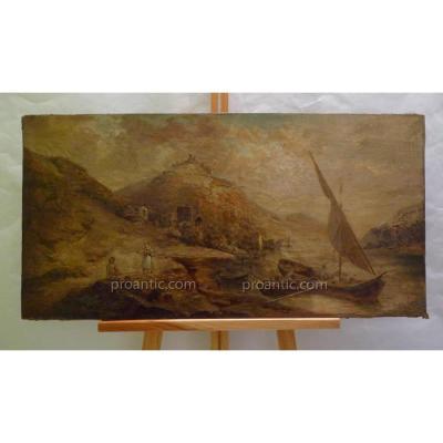 Tableau Huile Sur Toile, Ebauche Village Et Pêcheurs, Par Pierre De Coninck, Vers 1860