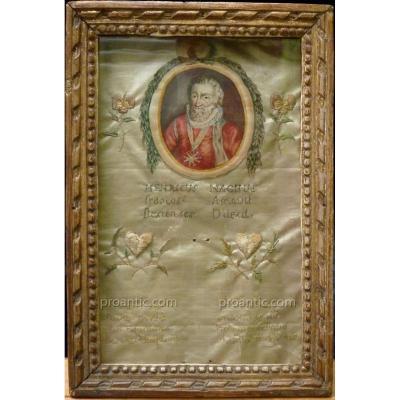 Cadre Coffret En Hommage Au Roi Henri IV, Epoque Louis XVI, Objet Mémoriel, Etat XVIIIème
