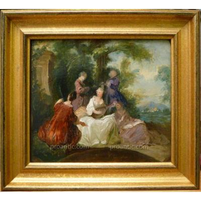 """Tableau Huile Sur Panneau, """"Etude Pour Musiciens En Scène Champêtre"""", XVIIIème Siècle"""