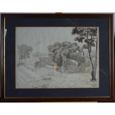 """Dessin à l'Encre Et Lavis, Ecole Italienne """"Paysage De Campagne Et Ruines"""", Epoque XIXème"""