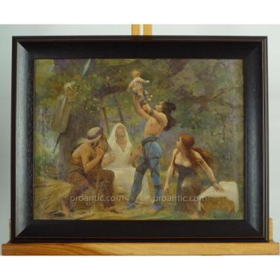"""Tableau Huile Sur Toile, """"Famille Gauloise, l'Héritier"""", Par Lionel Royer, XIXème Siècle"""