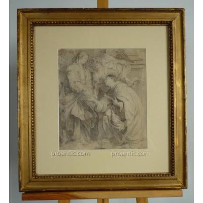 """Dessin Au Crayon d'Epoque XVIIème d'Après l'Oeuvre De Van Dyck """"Fiançailles Mystiques..."""""""