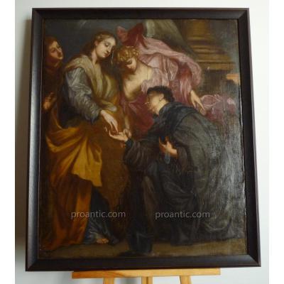 """Ecole Flamande Entourage De Van Dyck d'Après """"Fiançailles Mystiques.."""" XVIIème Tableau HST"""
