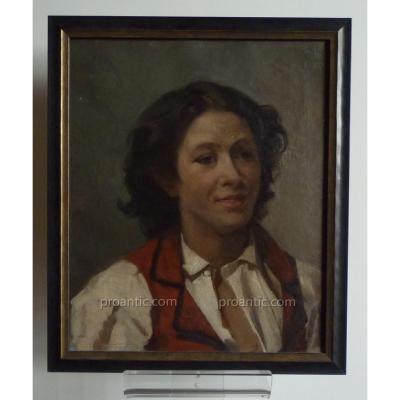 """""""Portrait De Jeune Homme En Gilet Rouge"""", Tableau Huile Sur Toile, Seconde Moitié Du XIXème"""