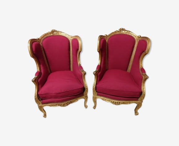 Pair Of Louis XV Style Bergere In Golden Wood XIX
