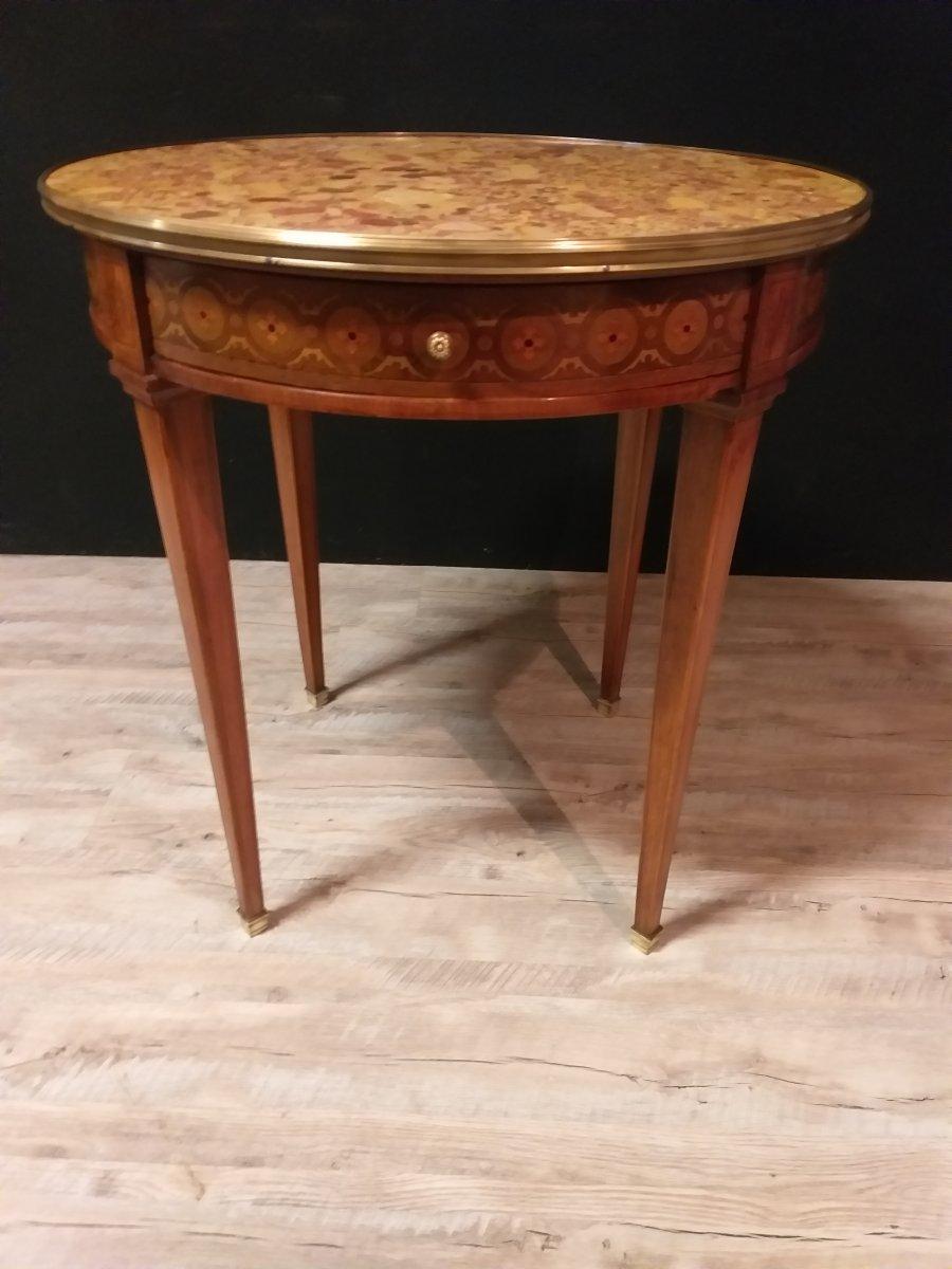 Round Pedestal Louis XVI Style Marquetry-photo-2