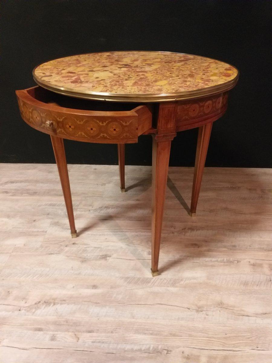Round Pedestal Louis XVI Style Marquetry-photo-3