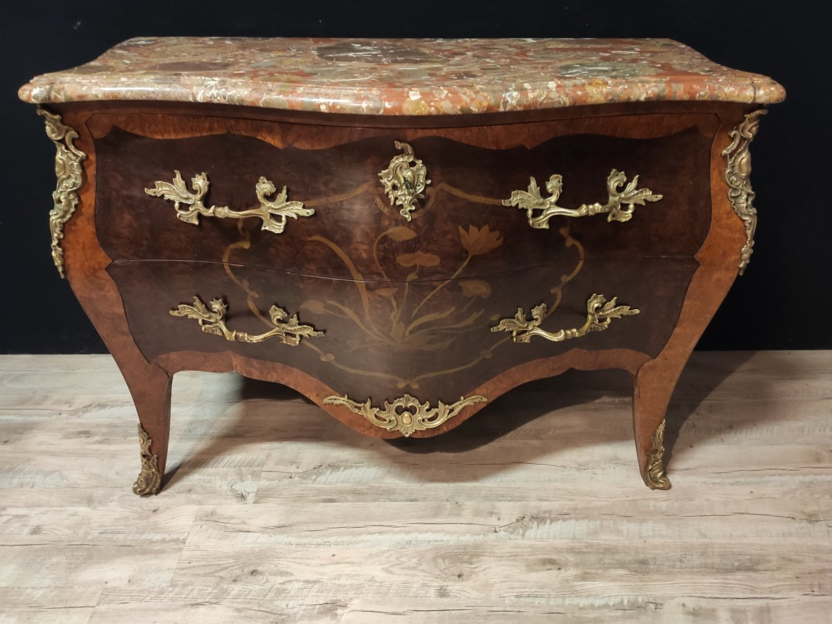 Commode Style Louis XV Marqueterie