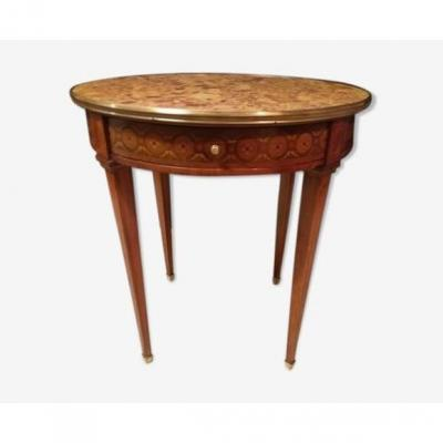 Guéridon Rond Style Louis XVI Marqueterie